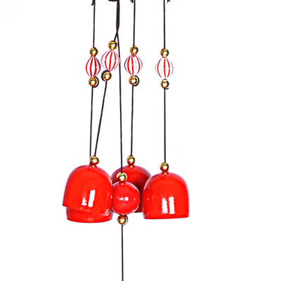 Wind Chimes with Decorative Red Loon Design
