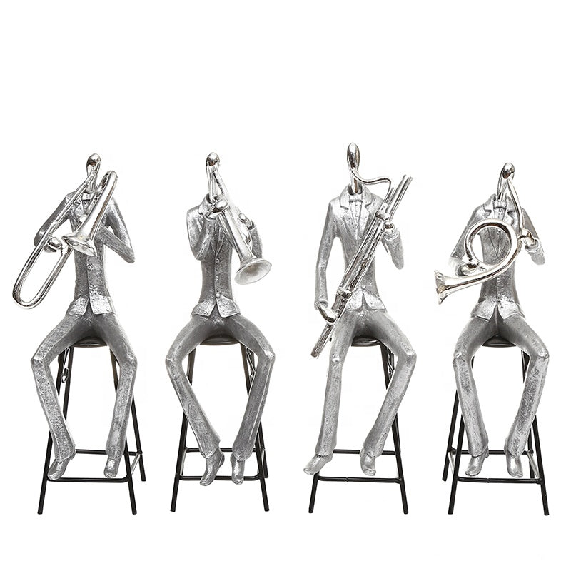 Silver Music Band Figurines (Set of 4)