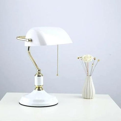 Hammond White Glass Brass Bankers Table Lamp