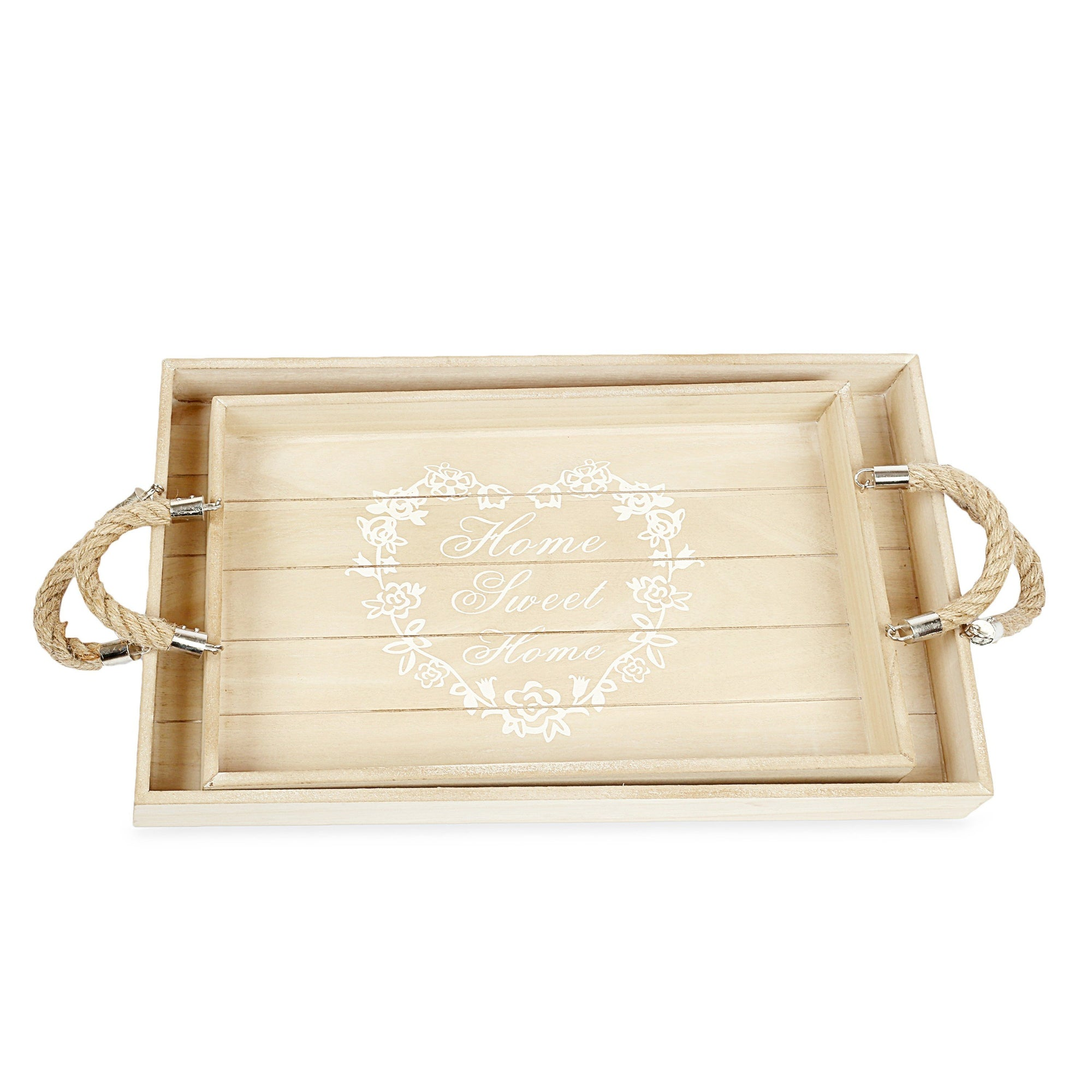 Decorative Wooden Home Design Tray (Set Of 2)