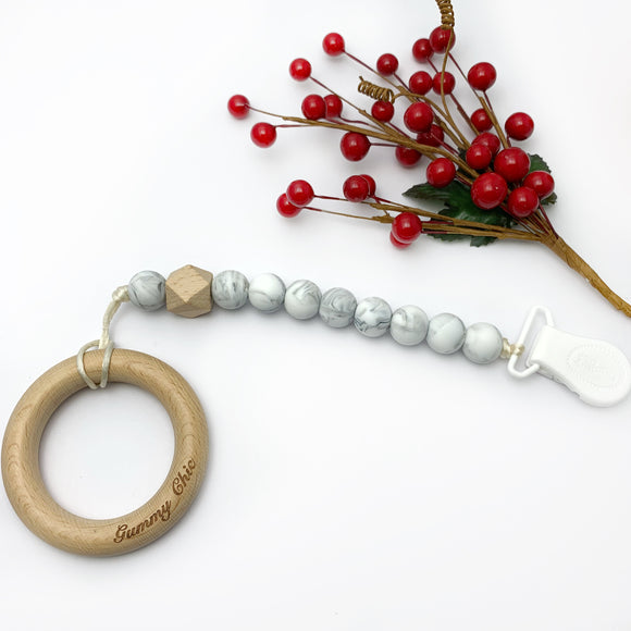 Marble and Wood Silicone Pacifier Clip - Dummy  Clip
