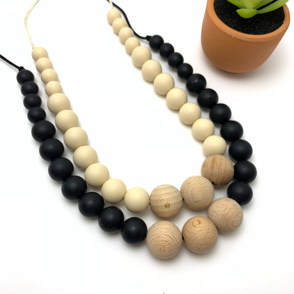 The Santorini - Silicone and Wood Teething Necklace for Mom