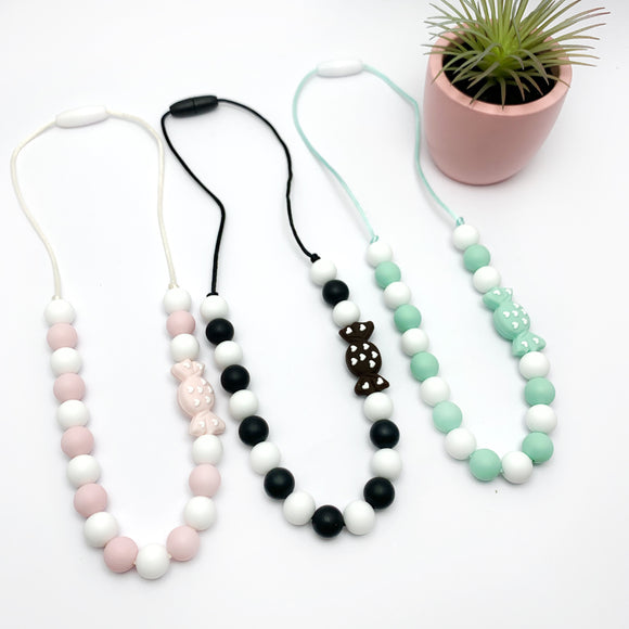 silicone candy beaded chew necklace