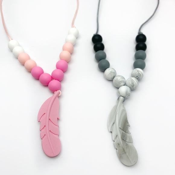 Feather Silicone Teething Necklace - Sensory Jewelry