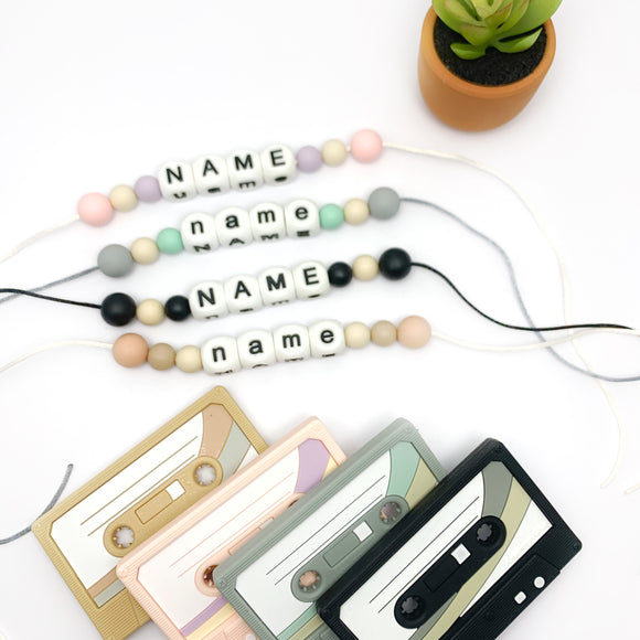 Personalized Cassette Tape Teether