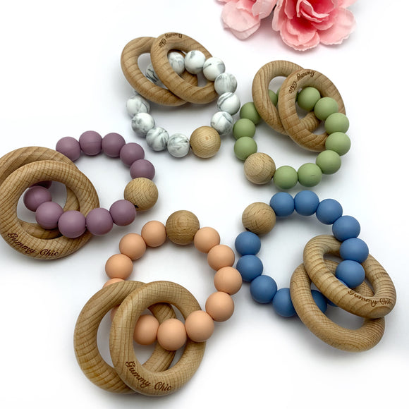 Single Color Wooden Teether Rattle -  Teething Ring
