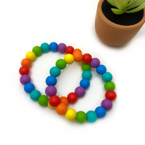 RAINBOW BEADED BRACELETS, SILICONE JEWELRY GIRLS