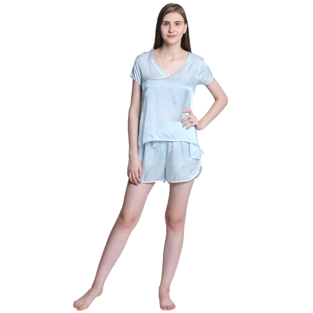 Bobbin' blue V-neck Tshirt and shorts - Catnap luxury loungewear