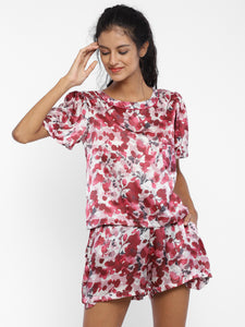 Mulberry leaves Red – T-Shirt and shorts (Was originally priced at INR 8,500) - Catnap luxury loungewear