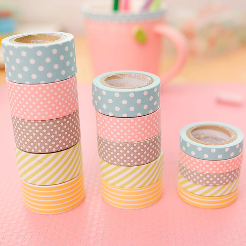 5-Pack Candy Polka Washi Tape Set