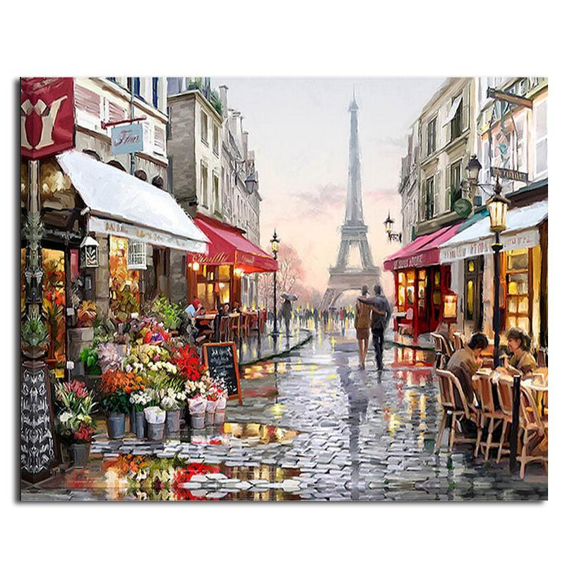 Rainy Paris Street DIY Classy Paint by Number Kit