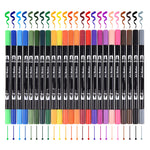 24 Colored Dual Headed Water Based Ink 0.4mm Tip Fine Brush