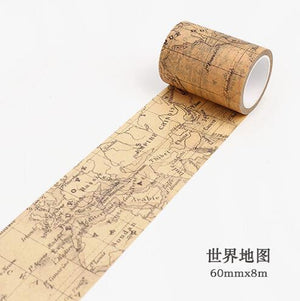 Creative Newspaper Map Gothic Decorative Washi Tape DIY Scrapbooking Masking Tape School Office Supply