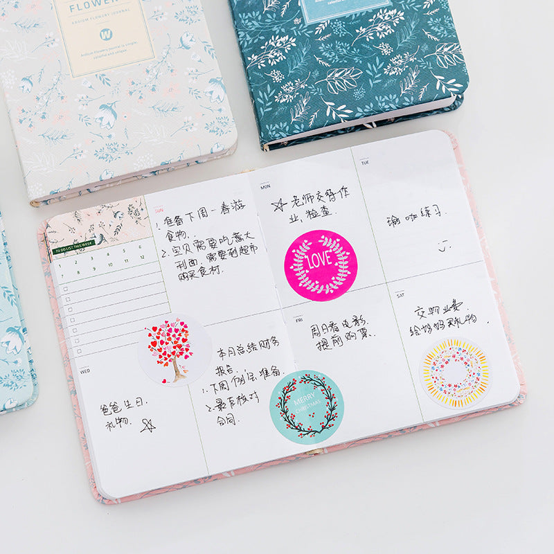 Korean New 2018 Kawaii Vintage Flower Schedule Yearly Diary Weekly Monthly Daily Planner
