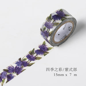 Colorful Flower and Leaf Premium Washi Tape
