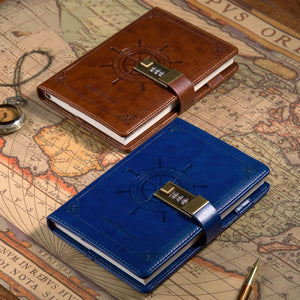 Leather Vintage Sailor with Password Lock For Travel Journal, Diary, Bullet Journal