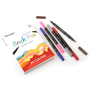 Premium 24 Colors/Box Dual Tip Art Marker Pen Water based 0.4 mm Fine Tip with 1-2mm Soft Brush Tip Markers