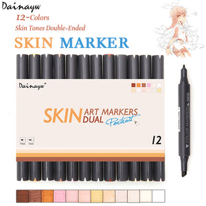 12 Colors Sketch Skin Tones Marker