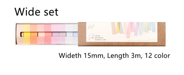 12-Pack Creamy Color Washi Tape Set