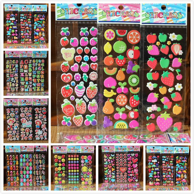 3D Puffy Bubble Stickers Mixed Cartoon Water Proof FREE Shipping