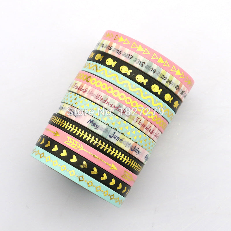 12-Pack Golden Foil Premium Washi Tapes