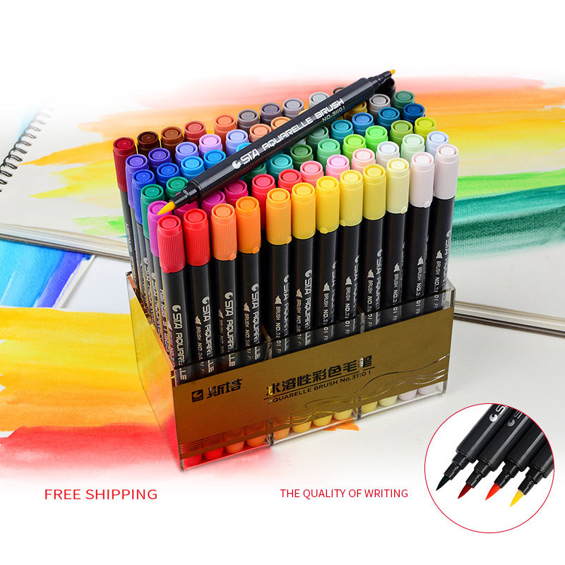 STA Aquarelle Dual Brush Pen With Free Gifts