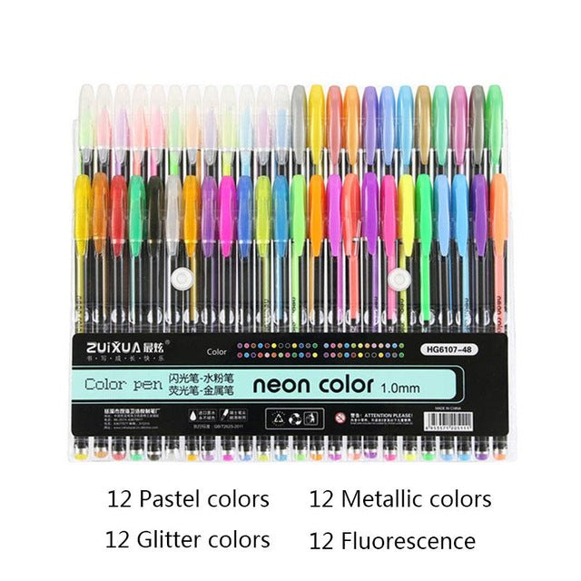 Neon Gel Pens 12-48 Pcs Set