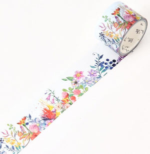 Flowers And Green Plants Premium Washi Tape