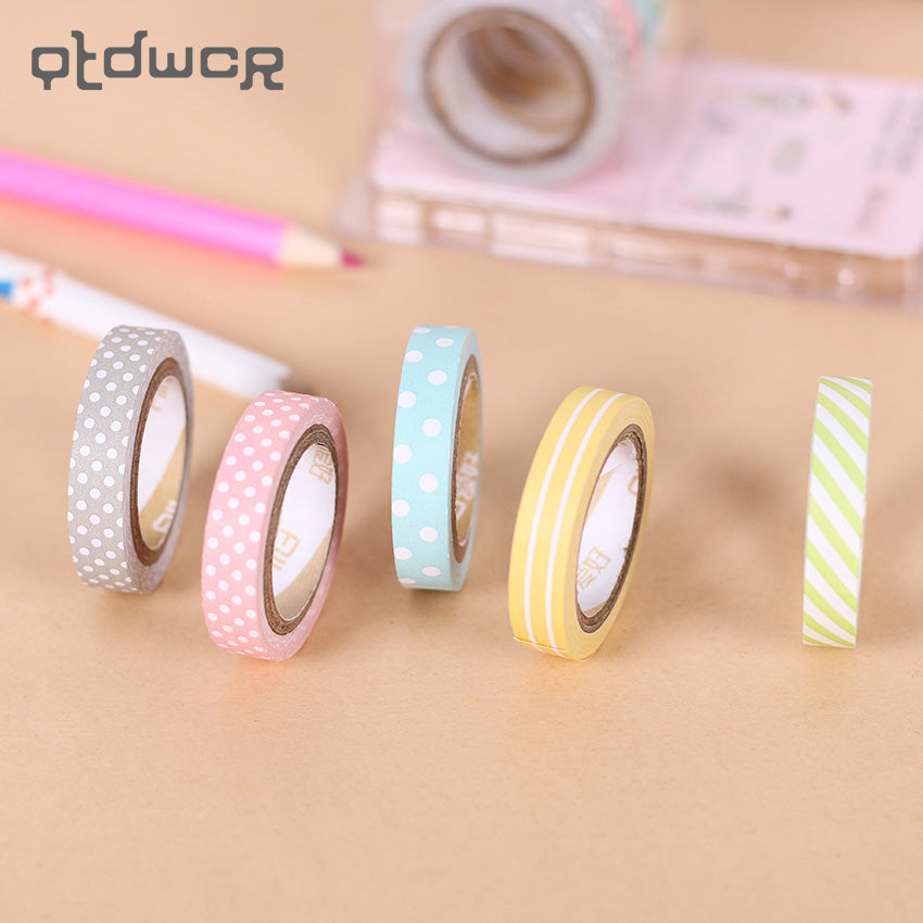 5 Pcs Candy Rainbow Washi Tape