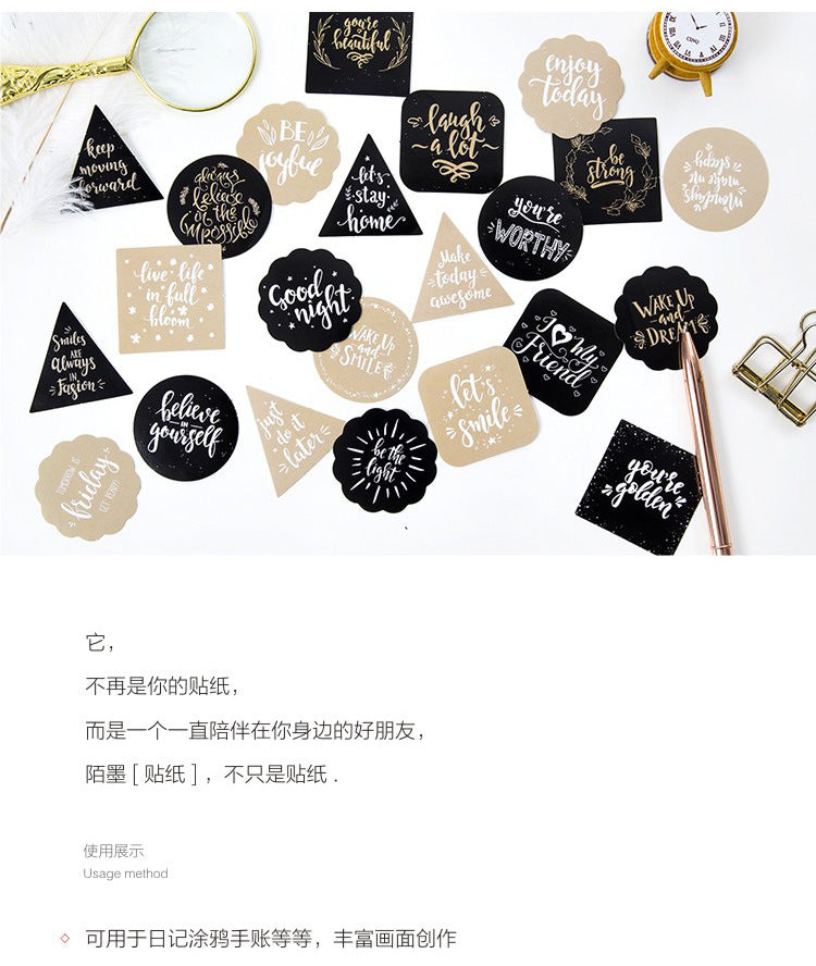 45 pcs/pack Black Life Stickers
