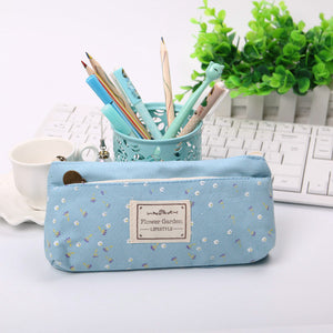 Flowery Double Zipper Pencil Case