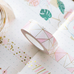 Golden Pink Foil Paper Washi Tape Set
