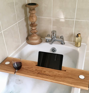Oak Bath Buddy Engraved with Bath & Bubbles
