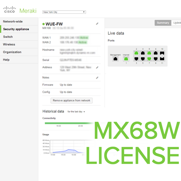 Meraki MX68W License