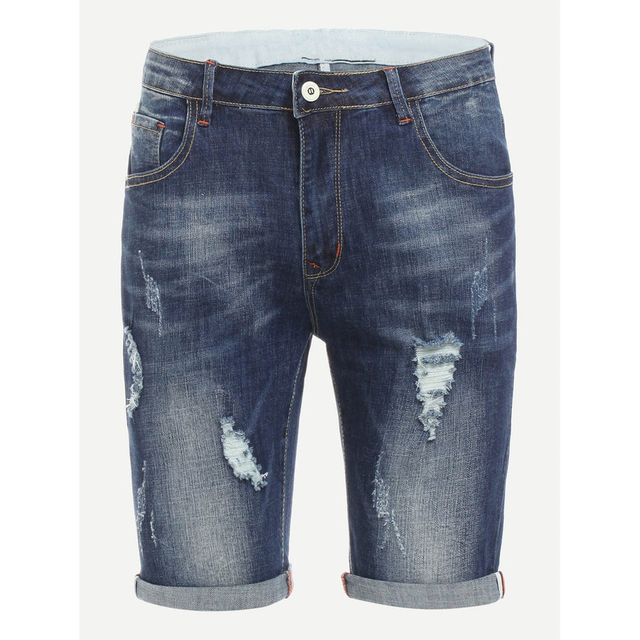Men Bleach Wash Ripped Denim Shorts