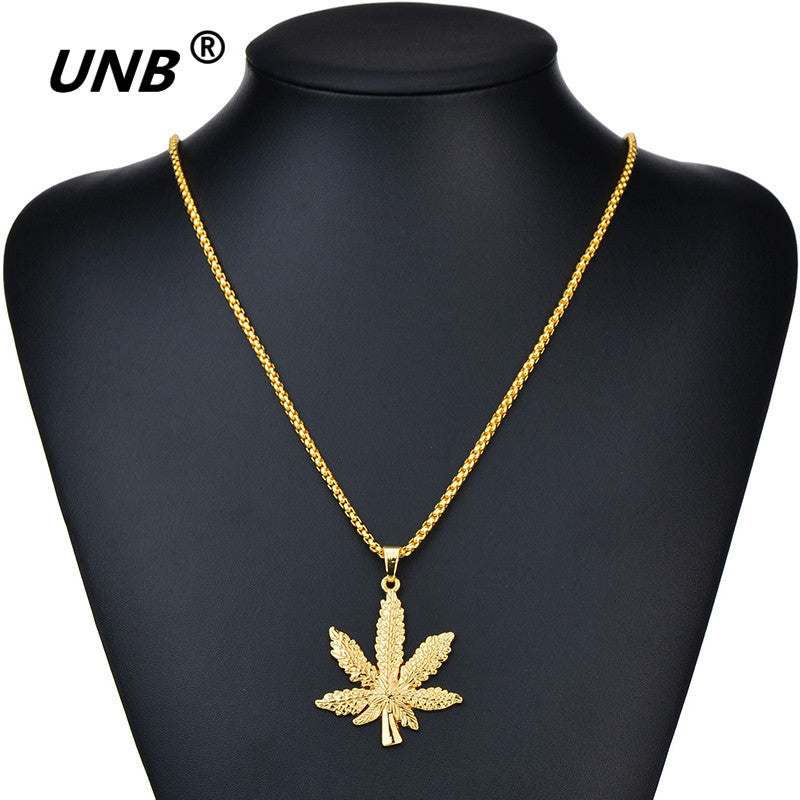 UNB Gold and Silver Plated Cannabiss Leaf
