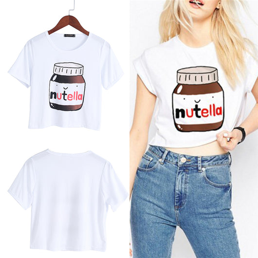 Nutella Print Kawaii Crop