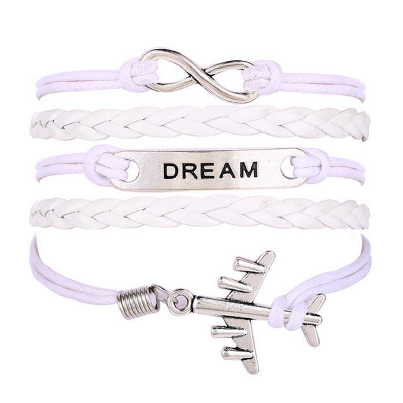 Women Men Aircraft Dream Knit White Leather Chain Charms Bracelet Gift