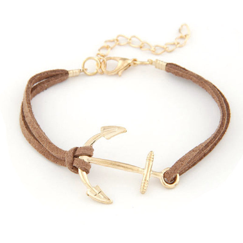 Women Retro Alloy Anchor Braided Rope Gold Charm Jewelry Bracelet BK