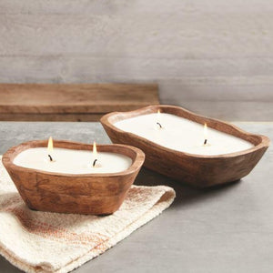 Mango Wood Bowl Candles