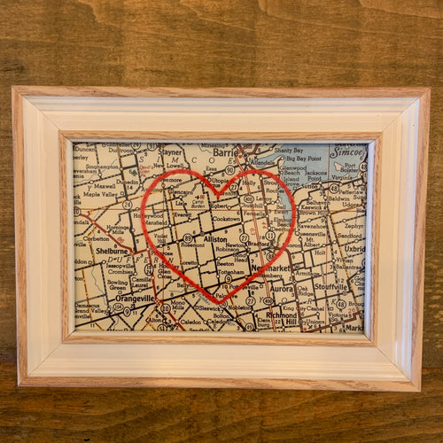 Embroidered Vintage Heart Maps