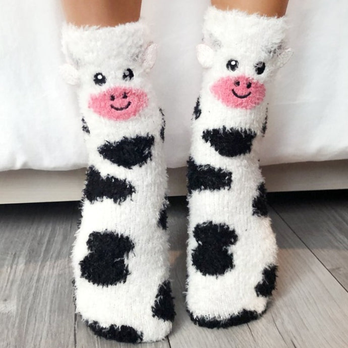 Fuzzy Cow Socks