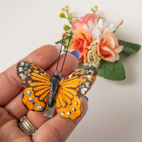 Floral Clip with Removable Butterfly Clip