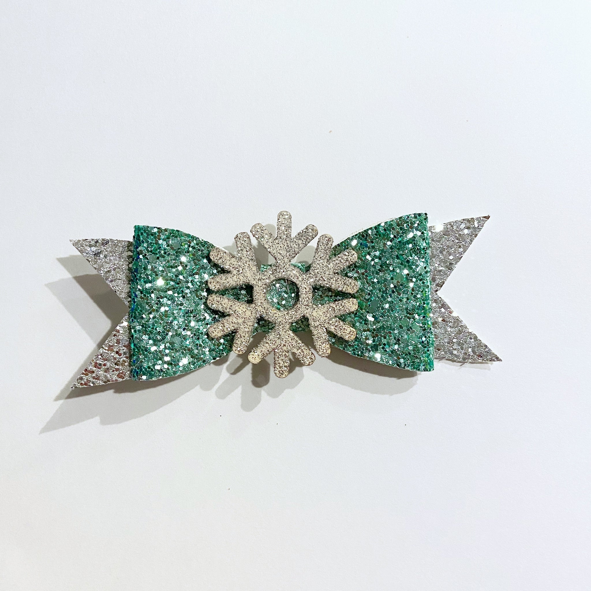 Mint Glitter & Snowflake Bow on Clip