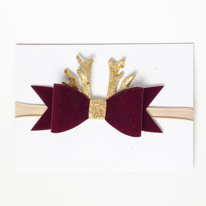 Christmas Reindeer Bow Headband