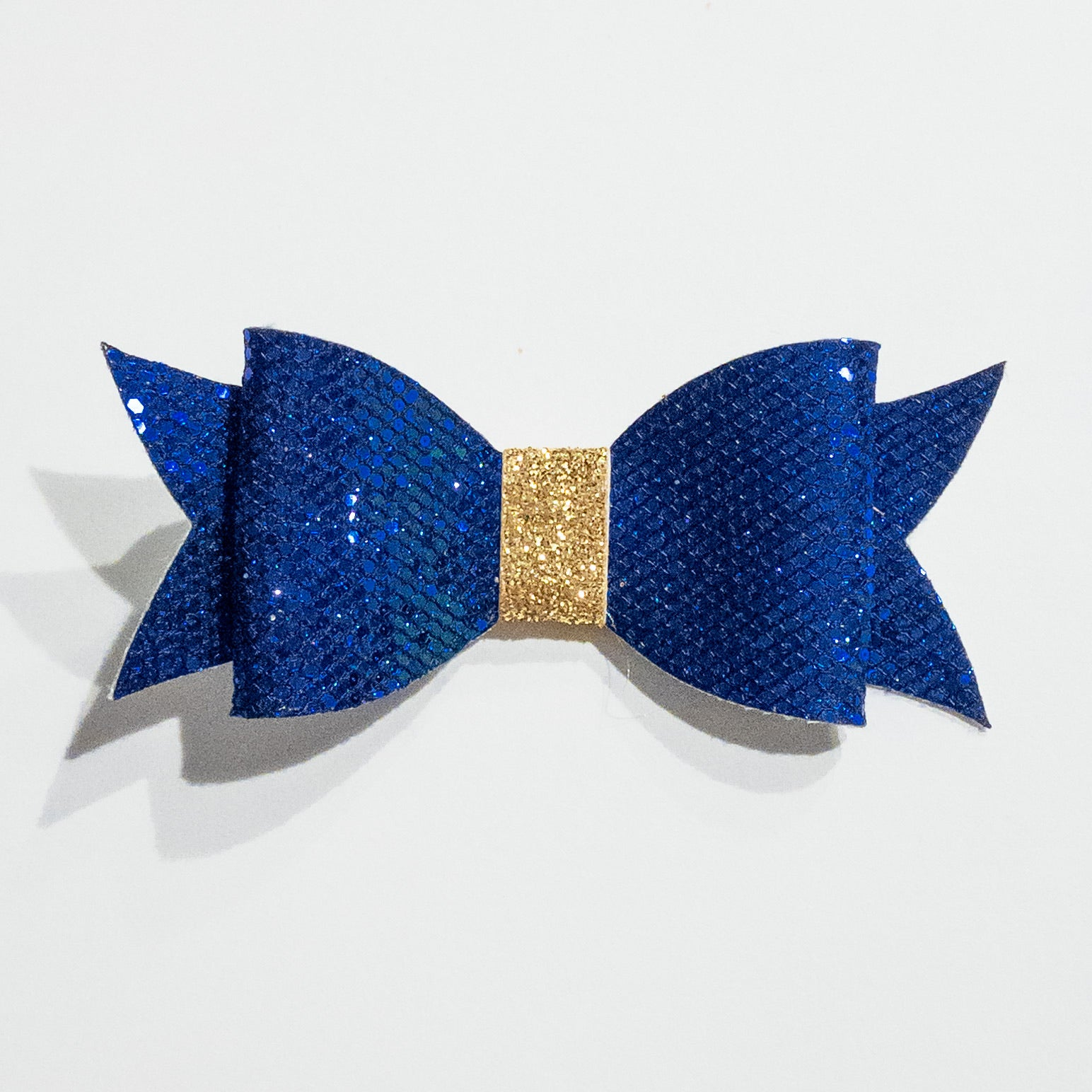 Blue and Gold Glitter Bow on Clip