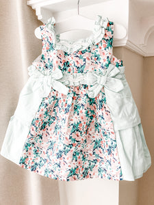 SS21 Newness Delicate Flower Baby Girls Dress & Pants Set