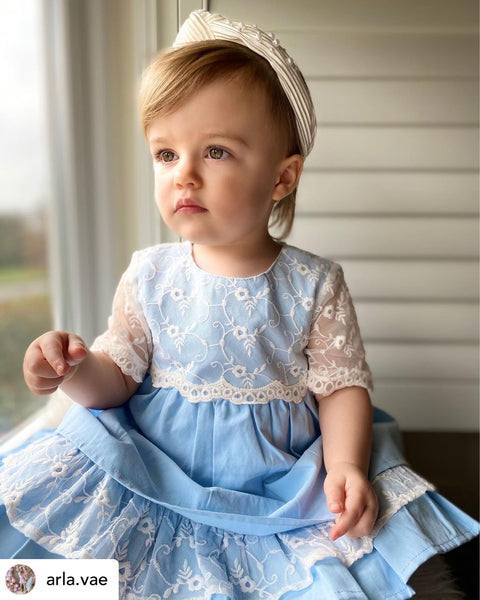 SS21 Newness Baby Girls Ocean Lace Dress Set