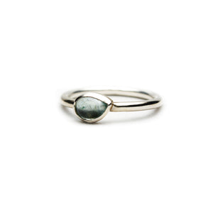 Large Pear Aquamarine Ring