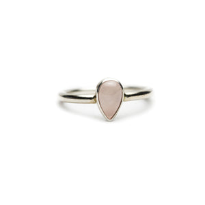 Large Pear Rose Quartz Ring
